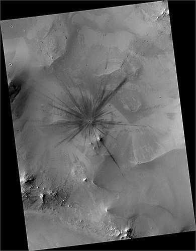Hình ảnh cận cảnh của miệng núi lửa trên sao Hỏa