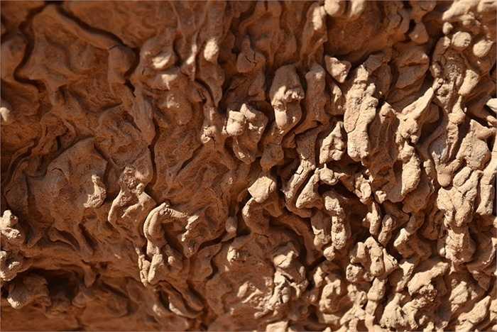 Cận cảnh những khối đá bị bào mòn từ hàng triệu năm trước để lại lớp trầm tích như hiện nay