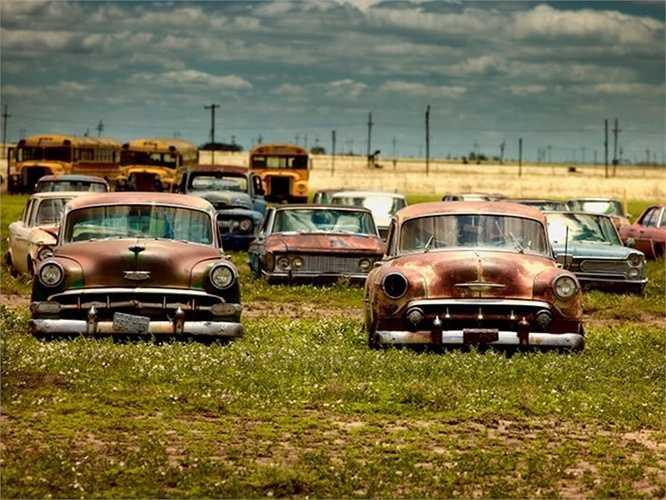 Những chiếc xe cũ, xe buýt ở bãi nghĩa địa xe bang Texas, Mỹ