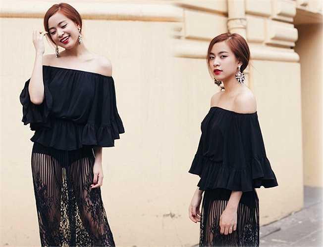 Hoàng Thùy Linh bí ẩn và quyến rũ với váy xuyên thấu tông đen.