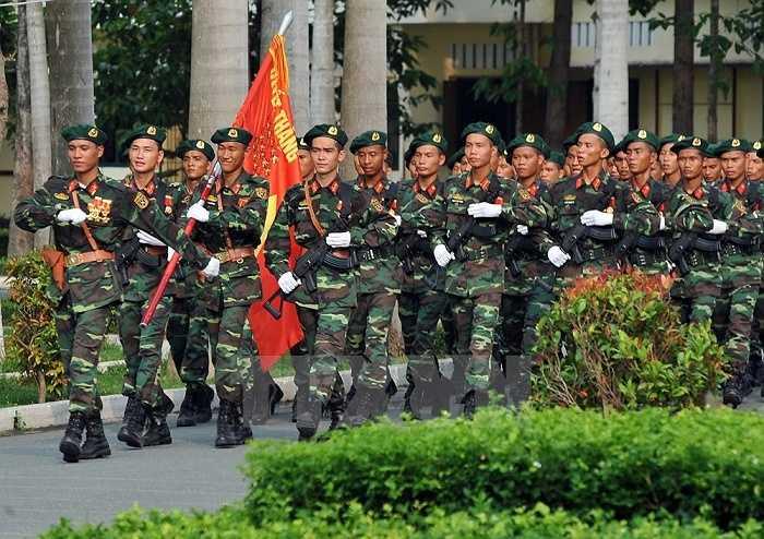 Lực lượng bộ đội đặc nhiệm tham gia buổi hợp luyện. (Ảnh: Trọng Đức/TTXVN)