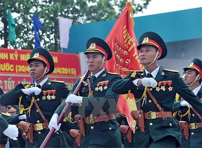 Lực lượng Quân đội nhân dân Việt Nam tham gia buổi hợp luyện. (Ảnh: Trọng Đức/TTXVN)