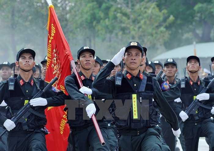 Lực lượng Cảnh sát cơ động tham gia buổi hợp luyện. (Ảnh: Trọng Đức/TTXVN)