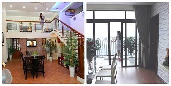 Ở căn biệt thự của gia đình, tông màu vàng và đồ nội thất có tông màu trang nhã. Trong khi đó, căn hộ mới của người đẹp (ảnh phải) chọn phong cách hiện đại với tông màu nâu, trắng.