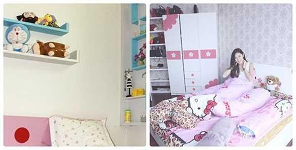 Phong cách đáng yêu, đồ dùng nhiều màu sắc tươi tắn ở phòng ngủ cũ và phòng ngủ mới khá tương đồng.