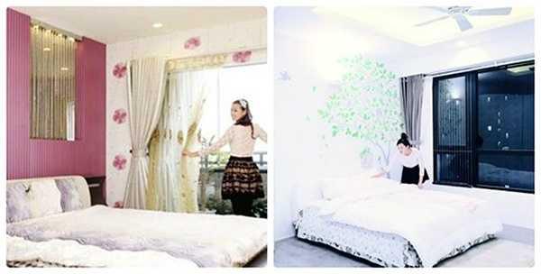 Phòng ngủ ở căn hộ cũ của người đẹp được thiết kế với tông màu hồng tím yêu thích của Lã Thanh Huyền đã lột xác hoàn toàn với tông màu nhẹ nhàng ở nơi ở mới, tạo cảm giác phòng rộng rãi hơn rất nhiều.
