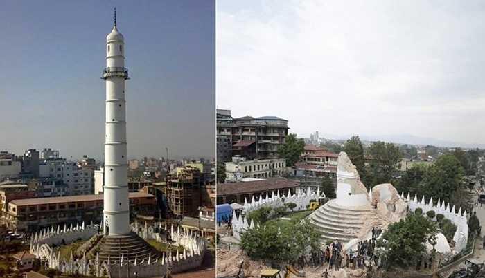 Tháp Dharahara lịch sử, một trong những biểu tượng của Nepal ở thủ đô Kathmandu trước và sau động đất. Ảnh: EPA