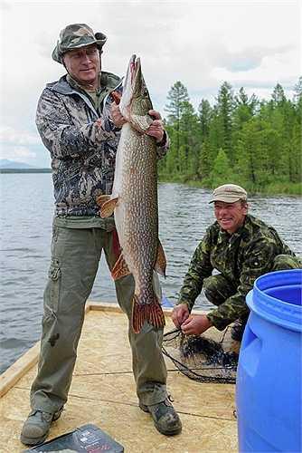 Ông Putin trong chuyến câu cá ở Krasnoyarsk ngày 20/7/2013