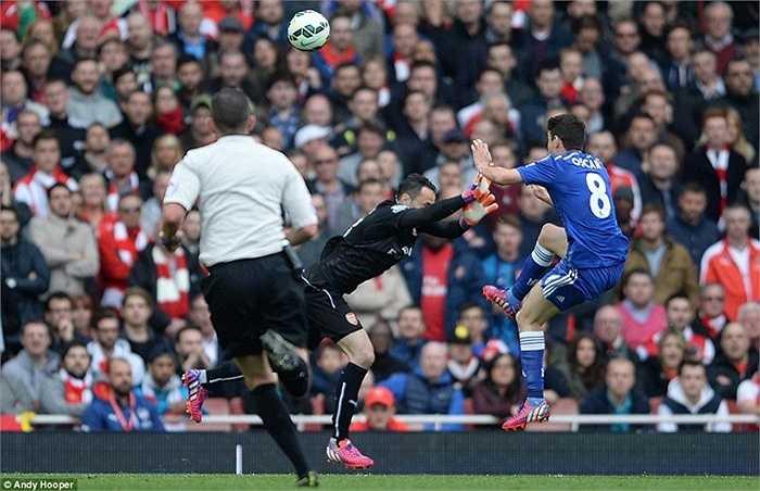 Tiền vệ người Brazil đã va chạm rất mạnh với thủ thành Ospina của Arsenal