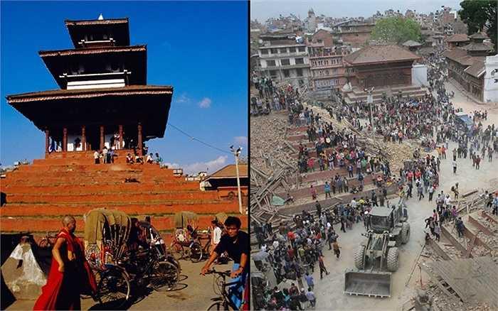 Quảng trường Durbar trước và sau động đất