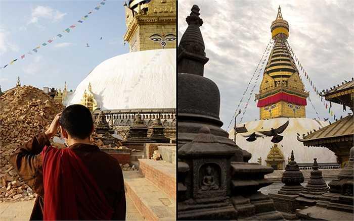 Một nhà sư đứng trước đống đổ nát của nơi trước kia là chùa Swayambhunath Stupa, hay còn gọi là chùa khỉ