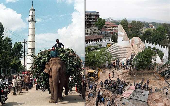 Tháp cổ Bhimsen trước và sau động đất