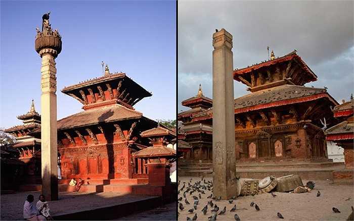 Cột thờ thánh Garud trong đạo Hindu bị hư hại