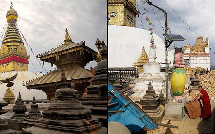 Góc ảnh khác cho thấy chùa Swayambhunath Stupa (chùa khỉ) bị hư hại sau động đất và dư chấn