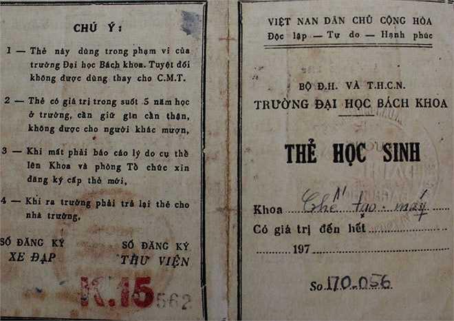 Thẻ sinh viên Đại học Bách khoa Hà Nội. Từ mái trường này, hơn 3.000 cán bộ, sinh viên nhập ngũ trong suốt những năm kháng chiến, trong đó riêng ngày 6/9/1971 có hơn 600 cán bộ giáo viên, sinh viên tòng quân.