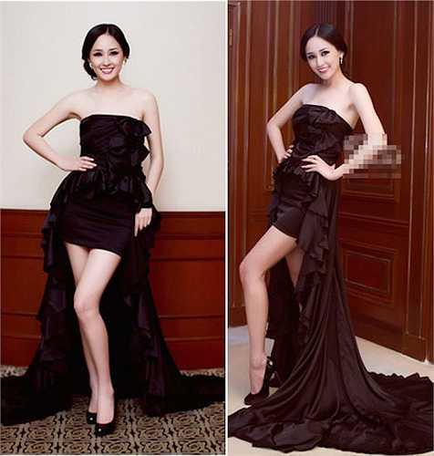 Trang phục này càng làm tôn lên chiều cao chuẩn cũng như cặp chân nuột nà của cô.
