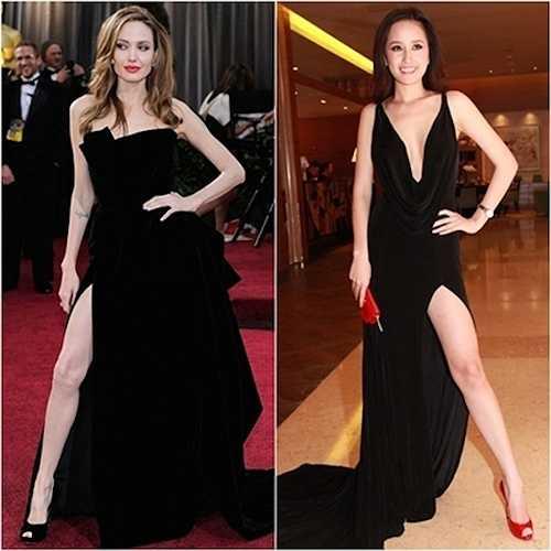 Với những chiếc đầm này, Mai Phương Thúy cũng học hỏi các ngôi sao Hollywood, điển hình như Angelina về cách tạo dáng 'kinh điển'.