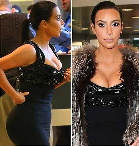 Siêu vòng ba Kim Kardashian là một trong những người đẹp Hollywood sở hữu đường cong nóng bỏng. Đương nhiên, cô cố tình 'o ép' ngực trong chiếc váy bó khiến nó bị chồi lên trông rất phản cảm.