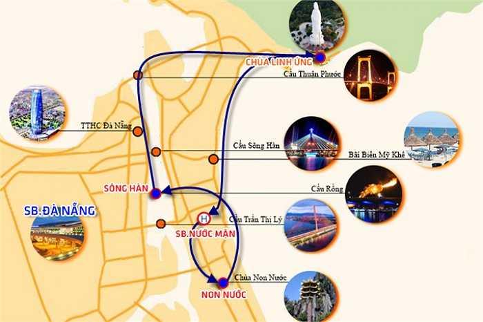 Tour trực thăng này xuất phát từ sân bay Nước Mặn ven biển Đà Nẵng – Núi Ngũ Hành Sơn – Bãi biển Đà Nẵng – Sông Hàn – Chùa Linh Ứng – Sân bay Nước Mặn.