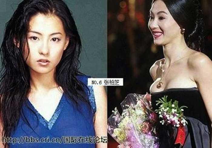 Trương Bá Chi cũng lọt danh sách này khi những bức ảnh cũ của cô bị tung lên mạng. Những gì người hâm mộ thấy là một thân hình 'màn hình phẳng'.