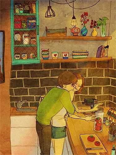Bộ tranh ' Tình yêu là' của họa sĩ có nghệ danh Puuung ghi lại những khoảnh khắc giản dị trong tình yêu khiến dân mạng thích thú