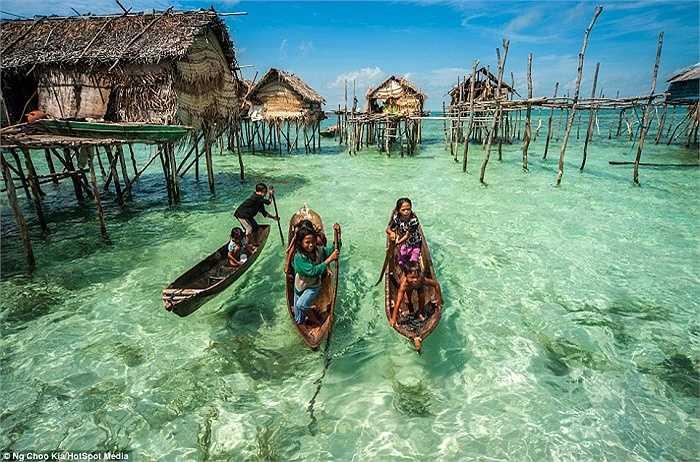 Thay vì học chữ, trẻ em Bajau được dạy cách bắt cá, bạch tuộc, tôm ... và sống nhờ vào biển