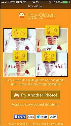 Cùng là một nhân vật, những các hình ảnh với biểu thị khuôn mặt khác nhau, sẽ cho ra số tuổi khác nhau.