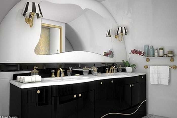 Nhà vệ sinh được lát đá cẩm thạch đắt tiền, thiêt kế sang trọng.