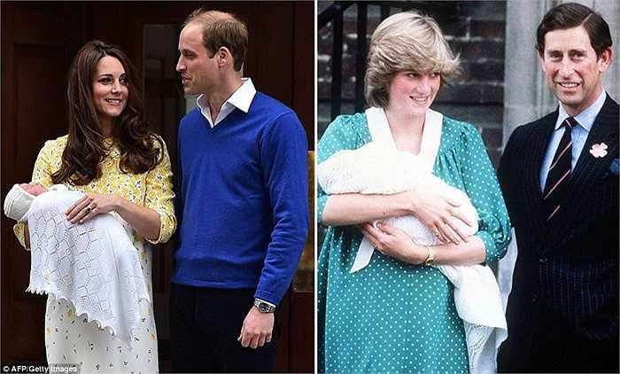 Hình ảnh so sánh gia đình William-Kate và gia đình Thái tử Charles - Công nương Diana đang bồng chính Thái tử William hiện nay vào năm 1982