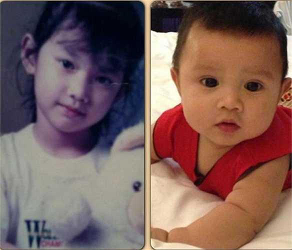 Ảnh thuở nhỏ của Quỳnh Chi và bé Lucas đều rất đáng yêu.
