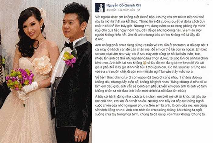 Sau nhiều tâm sự buồn về cuộc sống và hôn nhân trên trang cá nhân, MC Quỳnh Chi xác nhận cô đã đơn phương ly hôn và đang phải nỗ lực giành quyền nuôi con từ tay mẹ chồng. Những tâm sự về sóng gió hôn nhân mà cô trải qua đã gây xôn xao dư luận. Nhiều người vẫn chưa quên đám cưới hoành tráng của Quỳnh Chi cách đây vài năm.