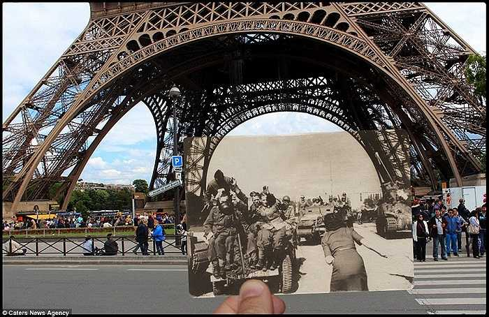 Hình ảnh tháp Eiffel năm 1940 và bây giờ