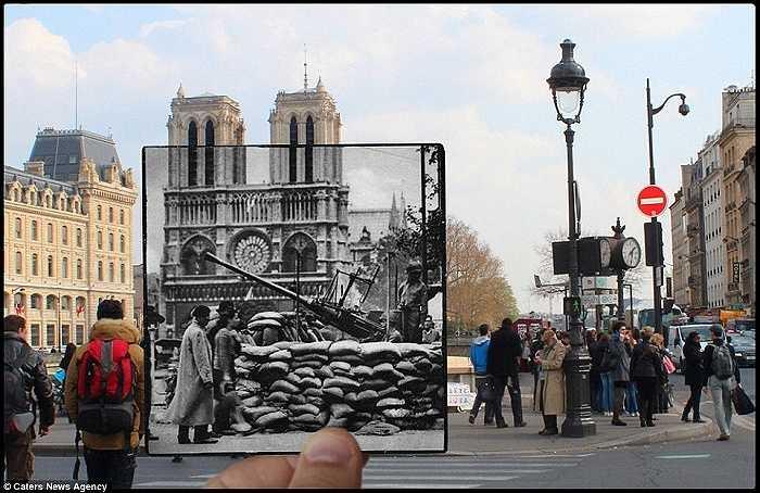 Phía trước nhà thờ Notre Dame, ngày xưa các xạ thủ của Đức Quốc xã đứng gác giờ đây là hình ảnh rất đông khách du lịch