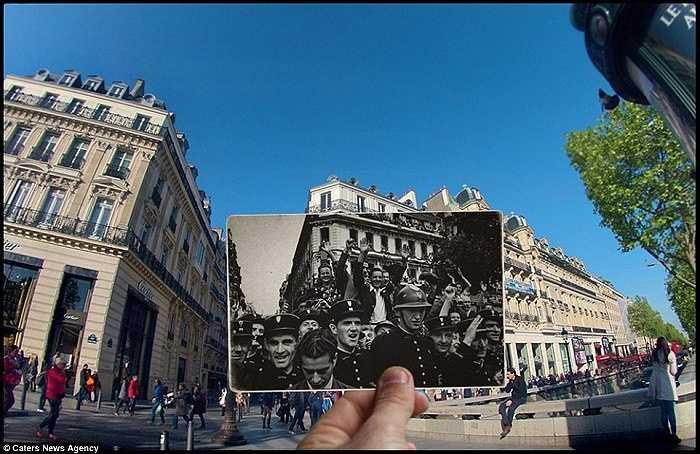 Người dân Paris ăn mừng trên đại lộ Champs Elysees