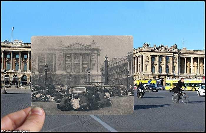 Dân chúng Paris sợ hãi nấp đằng sau xe ô tô ở quảng trường Concorde, phía sau là đài phun nước lịch sử