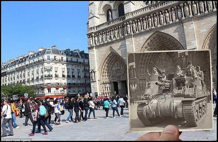 Phía trước nhà thờ Notre Dame, khách du lịch hiện nay xếp hàng dài để vào tham quan, đây từng là nơi xe tăng diễu hành qua trong ngày giải phóng Paris