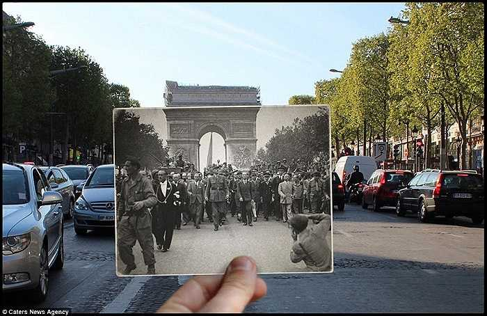 Tổng thống Charles de Gaulle ltrên đại lộ Champ Elysees sau ngày chiến thắng phát xít
