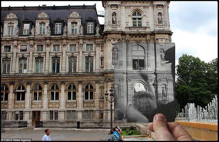 Người dân vẫy chào Tổng thống de Gaulle đứng trên cửa sổ khách sạn De Ville