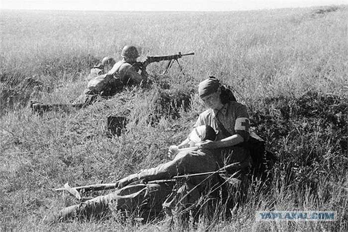 Nữ y tá chăm sóc cho thương binh