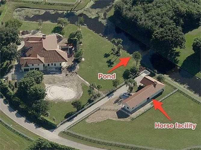 Khu bất động sản với chuồng ngựa nhìn từ trên cao