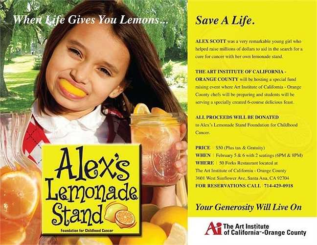 Alex Scott. Cô bé Alex Scott bị chẩn đoán là mắc bênh  ung thư khi còn chưa tròn 1 tuổi. Cuộc sống rất khổ cực với bênh tật tuy nhiên, khi mới lên 4 tuổi, Alex Scott đã bàn với bố mẹ lập cho em một bàn bán nước chanh với hy vọng quyên góp tiền cho các trẻ em ung thư khác. Ngay lần đầu tiên, bàn nước chanh của Alex mang về 2.000 USD. Sau đó, số tiền tăng lên 200.000 USD và 1.000.000 USD 2 tháng trước khi cô bé mất.