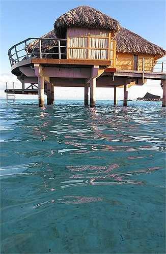 Với những căn nhà lá như thế này, khách hoàn toàn có thể tắm biển sau một cú nhảy hoàn hảo từ ban công phòng nghỉ của mình.