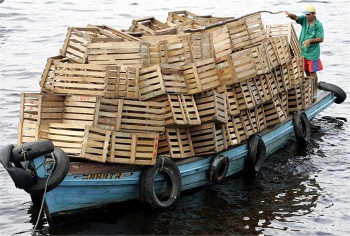 Chiếc thuyền nhỏ chở đầy thùng gỗ