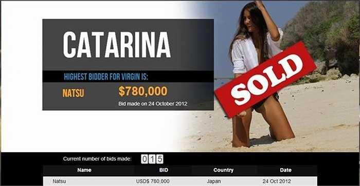 Năm 2012, một nữ sinh viên người Brazil có tên Catarina Migliorini đã quyết định rao bán 'cái ngàn vàng' của mình trên trang Ebay. Người chiến thắng trong việc đấu giá là một người đàn ông Nhật Bản, ông này đã phải bỏ ra 780,000 USD (16 tỷ đồng) cho món hàng của mình.