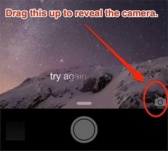 Nhanh chóng chụp ảnh mà không cần mở máy bằng cách vuốt biểu tượng camera ở góc dưới bên trái màn hình khóa lên.
