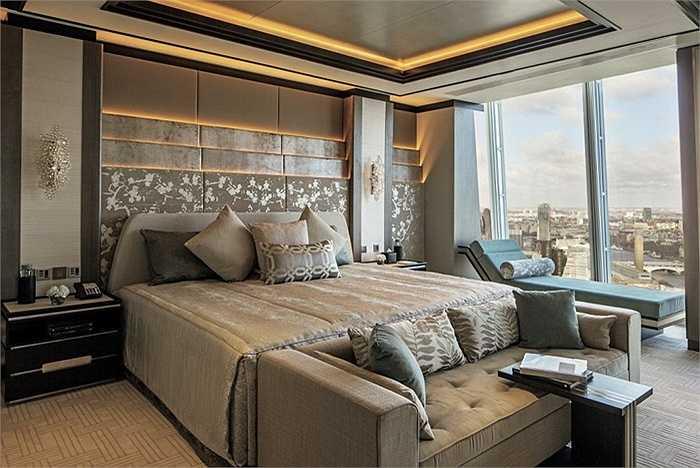 Khách sạn Sangri La ở London nằm ở tầng 34 đến tầng 52 trong tòa nhà Renzo Pian