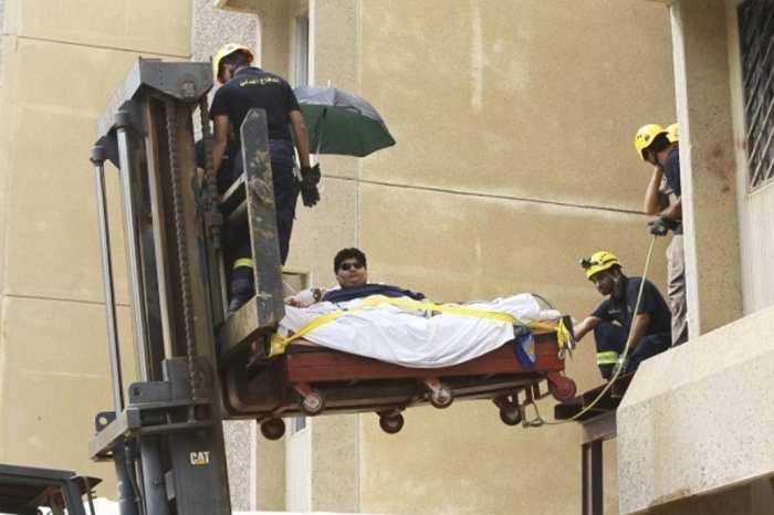 Khalid Bin Mohsen Shaari - 610 kg. Thanh niên 9x người Ả Rập Xê-út từng nặng tới 610kg và khi thông tin về anh đến tai của Vua Abdulla - Ngài đã tài trợ cho chương trình chữa trị của Khalid và đến nay anh đã giảm được hơn 300kg
