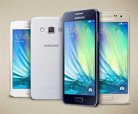 9. Samsung Galaxy A3: Galaxy A3 có thiết kế bằng kim loại nguyên khối, màn hình 4.5 inch, hỗ trợ hai SIM, trang bị camera trước đến 5MP. Máy được trang bị bộ vi xử lý Qualcomm Snapdragon 410 4 nhân với tốc độ 1.2GHz, hỗ trợ RAM 1GB và bộ nhớ trong đến 16GB và có khe cắm thẻ nhớ. Giá tham khảo: 5,9 triệu đồng.