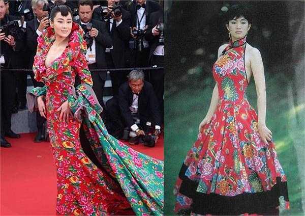 Trương Hinh Dư còn bị 'bóc mẽ' vì copy lại kiểu váy của Củng Lợi trước đó.