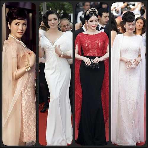Trong quãng thời gian hoạt động tại Cannes, Lý Nhã Kỳ liên tục xuất hiện với những trang phục lộng lẫy.